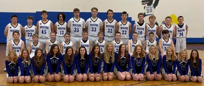 19-20 Wolfe County Middle School Boys Basketball and Cheerleaders