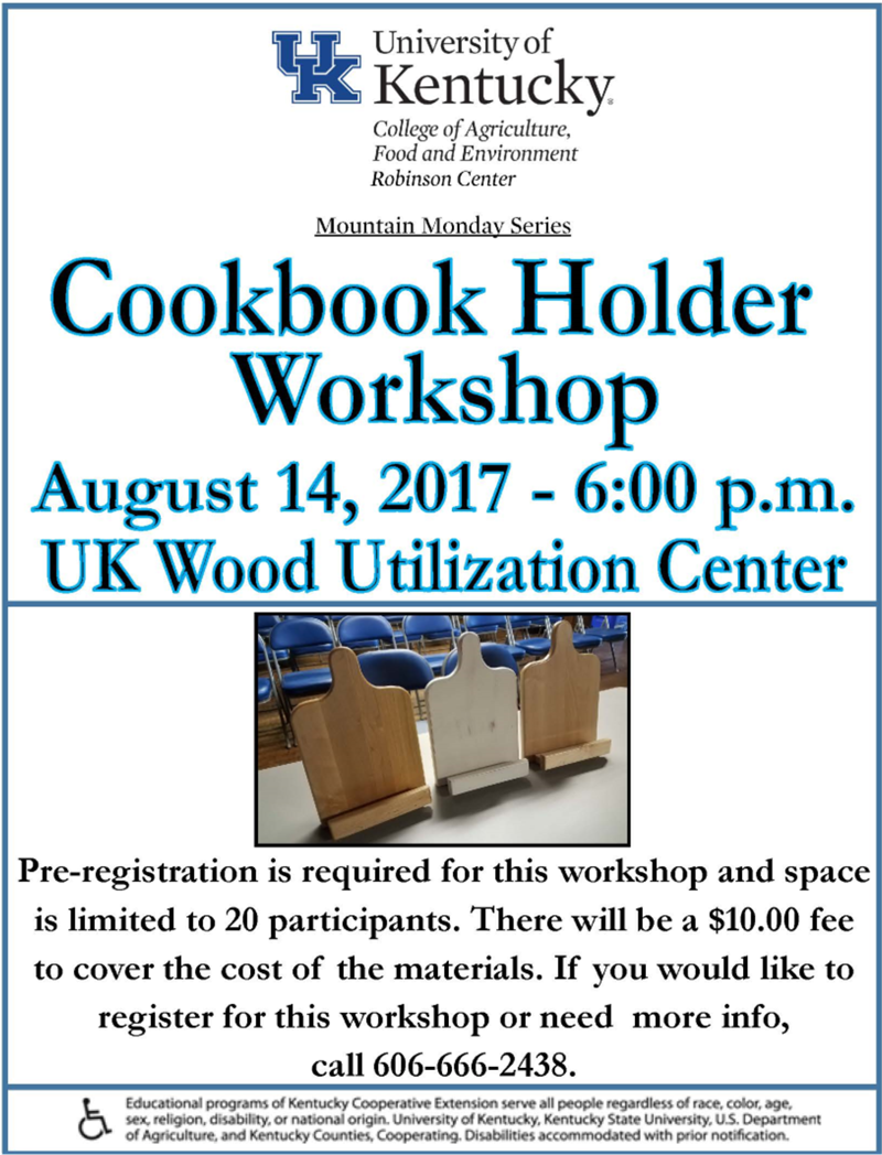 Cookbook Holder Workshop