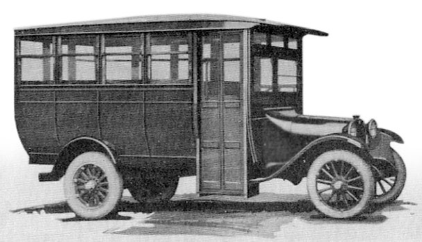 1921 Graham bus breaks new ground as an enclosed bus with glass windows throughout.